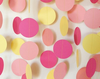 Pink and Yellow Garland, Pink Lemonade, Pink Baby Shower, Nursery Decor, Pink Birthday Decoration, 1st Birthday Party, 10 ft. long