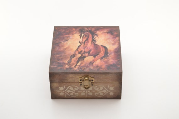 Brown horse jewelry box wooden jewelry box decoupage box