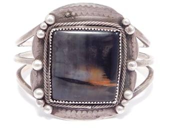 Old Pawn Navajo Petrified Wood Silver Cuff Bracelet