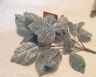 Vintage light blue embossed velvet leaf spray