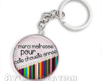 Cabochons glass 25mm teacher Keychain #MH12a