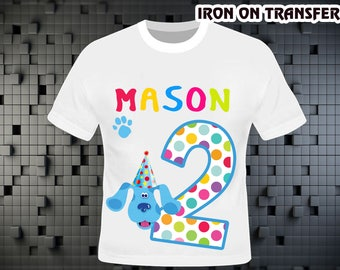 Blue Clue Iron On Transfer , Blue Clue Birthday Shirt DIY , Blue Clue Party , Blue Clue , Boy Birthday Shirt , Persolalize Name,Digital File