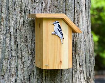 Downy Woodpecker - Cedar bird house
