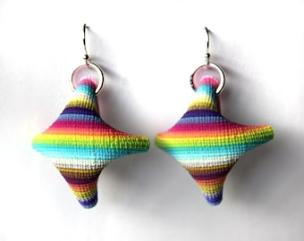 Multicolored Folded Sheet Earrings.