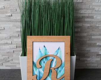 Monogram letter frame with watercolor style art