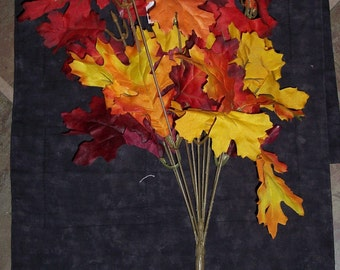 fall foliage floral bush,oak leaves fall colors,red,yellow,orange mix,17-19 inch,11 branches,fall floral foliage