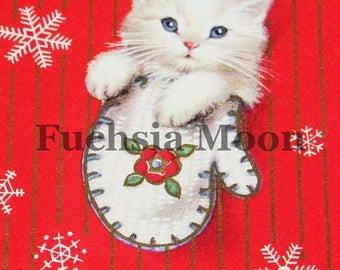 DIGITAL DOWNLOAD Sweetest Vintage Mid Century Modern Kitten In A Mitten Christmas Image