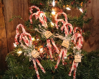 Prim candy canes etsy 12 primitive christmas vintage style chenille candy canes glittered tag sign ornament publicscrutiny Choice Image