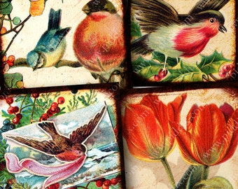 Vintage Birds and Blossoms Digital Collage Sheet Two 1.5 Inch Squares Viewfinder Butterflies Flowers Swallows Bluebirds Victorian piddix 819
