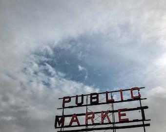Pikes Place, Seattle - Digital Photography Print - Washington Neon photograph sign