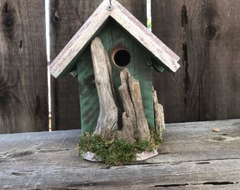 Rustic Birdhouse Farmhouse Country Style Functional Bird Houses Handmade, Hand Painted, Moss Green & Smokey Beige, Item #581196968