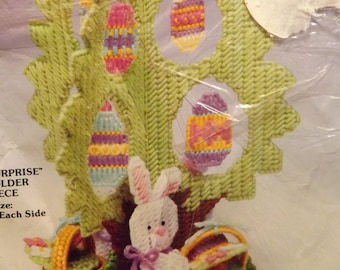 "New PLASTIC CANVAS NEEDLEPOINT ""Easter Surprise Candy Holder Centerpiece"" Finished Size 8.5"" X 11"" Each Side Vintage 1990 Bunny Egg Tree 753"