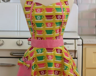 The MAGGIE Vintage Inspired Colorful Teacups Full Apron