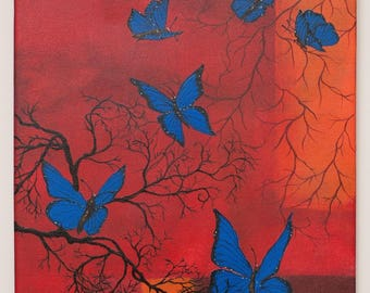 Painting on canvas - blue butterflies