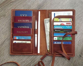 Family passport holder/ 4 passport holder/travel wallet/family travel wallet/leather passport holder