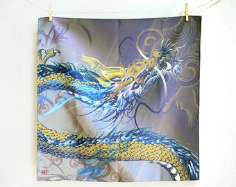 Rising dragon Hand made cloth, Nobori ryu Furoshiki Japanese wrapping cloth, Bent box, Art, Gift wrap, Gift, Cool, Gray, Japan, Kyoto, Small