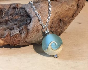 Ocean Wave Necklace, Ocean Jewelry, Blue Wave Necklace, Sea Glass Necklace, Wave Necklace, Lampwork Bead, Aqua Blue Necklace, Ocean