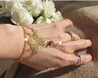Sale Gold hand chain slave bracelet ring, Tigers Eye bracelet, Gemstone Jewelry, gold slave bracelet, Tigers Eye Jewelry, Chakra bracelet