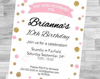 Pink & Gold Polka Dots Birthday Invitation