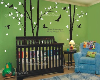 3 Birch Tree with Flying Birds-tree nursery wall decal birds wall decals baby decor nursery wall sticker children wall decals