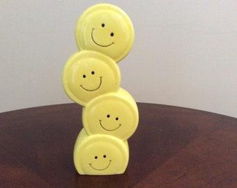 Cute! Stacked Smile face ceramic vase, Burton.