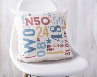 Personalised Coordinates Cushion Pillow