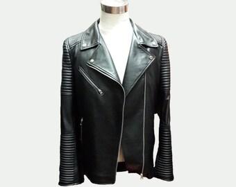 Custom Leather Jacket - Men's Leather Jacket - Motorcycle Jacket - 100% Lambskin