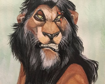 Scar Watercolor Art Print ,The Lion King, Disney,Original Art Print, Watercolor Art Print, Home Decor