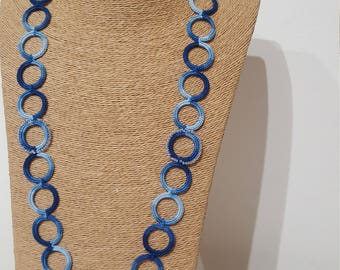Blue crochet necklace with decorated rings, jeans necklace