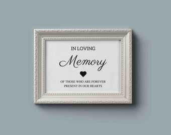 In Loving Memory Sign / Wedding Memorial Table Sign / Forever in our Hearts Sign / Memory Sign / Wedding Sign / INSTANT DOWNLOAD 8x10