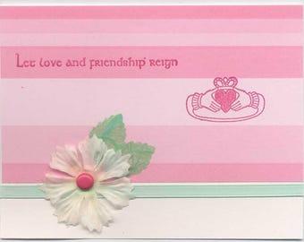 Handmade Card: Irish Claddagh, Friendship, Valentine, Love, Heart, Anniversary, Wedding