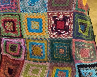Hand crocheted granny square lap afghan lapghan  hand dyed super wash wool sock yarn 39 x 36