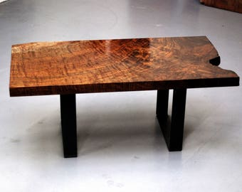 Beautifully Figured Claro Walnut Live Edge Coffee Table - Exceptionally Rare - 350-500 Years Old Reclaimed Local