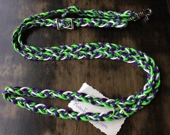 "Adjustable Paracord Reins / Dog Leash - ""Acid Purple Slush"" - Green/Purple/Glow - 8.5ft long"