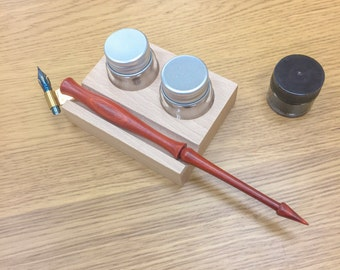 "Free Shipping- Premium Calligraphy Set : Handmade Oblique Pen Holder, Brause #361 ""Blue Pumpkin"" Nib, Wooden Stand + 2 Ink Pots, Black Ink"