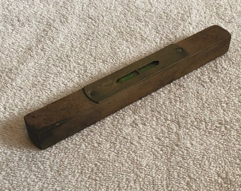 Vintage Small Wood And Brass Level