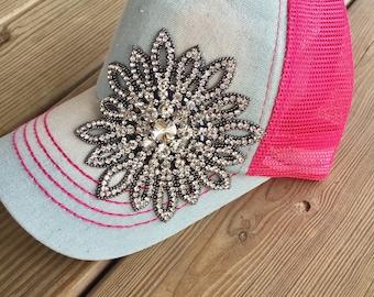 Trucker hat, hot pink cap, bling, women's baseball cap, women's trucker cap, distressed baseball cap