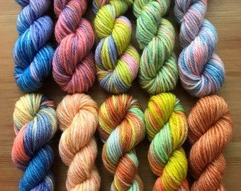 Hand Dyed Sock Yarn Mini Skein Set #152 -- 10 Mini Skeins/25 Yards Each