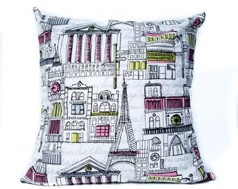 City Pillows. 18x18 Pillow Cover. Decorative Pillows. Colorful Pillows. Streets of the World. Custom Pillows. Pillow Case. Accent Pillows