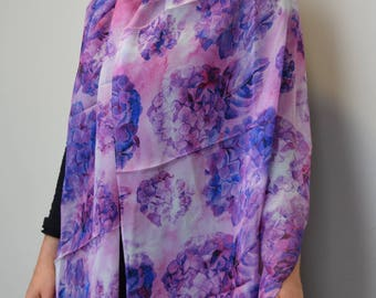 Magenta & Blue Hydrangeas 100% Silk Scarf, Chiffon Scarf, Shawl, Sheer Wrap, Wearable Art, Art Scarf