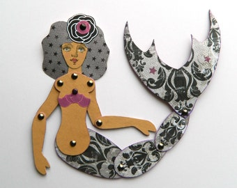 Meerjungfrau Puppe aus Papier / Meerjungfrau Papier Gliederpuppe / beweglich Meerjungfrau Puppe aus Papier / Seaside Dekor / Strand Haus Dekor / Strand Hütte Dekor / Meerjungfrau