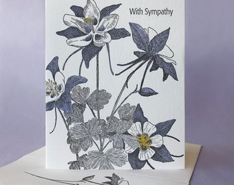 Columbine Sympathy and Blank Note Card