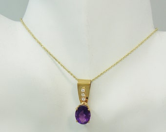 PENDANT 14K Gold with Amethyst oval with 3 Diamonds PEN14KAMOV3D