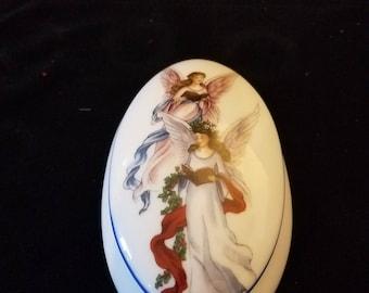 Vintage Reutter Porzellan Germany Angels Trinket Box Porcelain