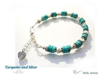 Turquoise Bracelet, Heishi Bracelet, Chakra Bracelet, Silver and Turquoise Bracelet Gift Jewelry - B2014-14