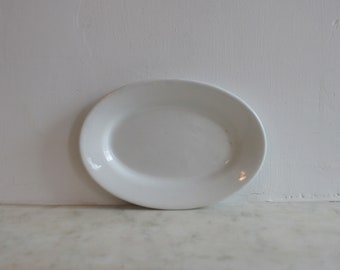 Antique White Ironstone Soap Dish, China, Baker, England, Small Oval