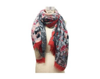 Red Grey and Blush Abstract Paint Splatter Scarf with Self Fringes