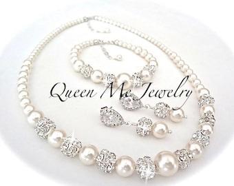 Pearl jewelry set Swarovski pearl set 3 piece set pearl set Pearl Bracelet Earrings Necklace Bridal jewelry set ~TOP SELLER ~ DESTINY