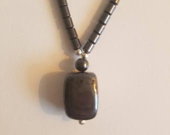 Hematite Crystal Bead Necklace - Screw Clasp - Healing Crystals - Pendant - Pagan Jewelry- Wiccan Necklace - Ritual Jewelry - Altar Jewelry