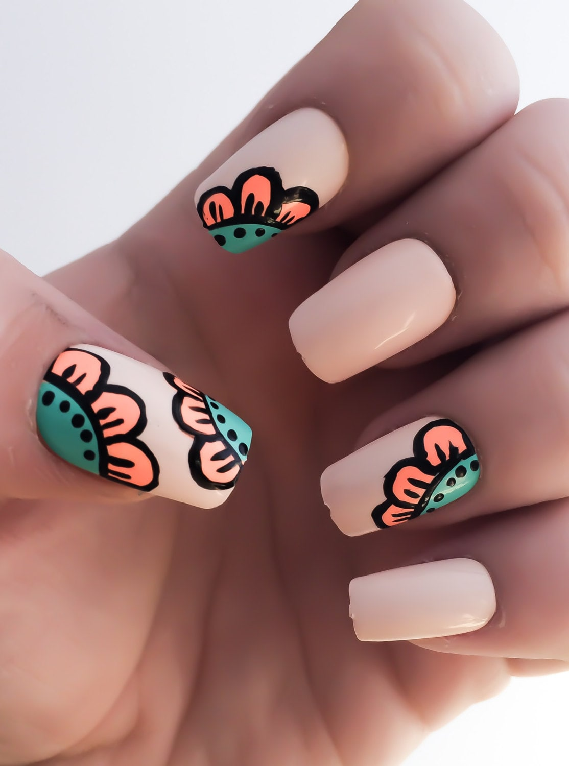 Flower Fake Nails Nude Nail Polish Coral Nails Acrylic